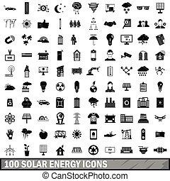 100 solar energy icons set, simple style