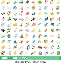 100 solar icons set, isometric 3d style