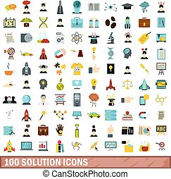 100 solution icons set, flat style