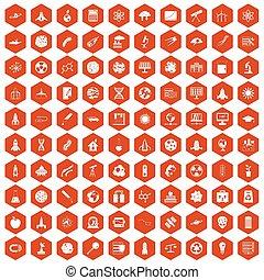 100 space icons hexagon orange