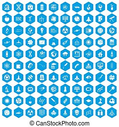100 space icons set blue