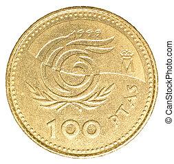 100 spanish pesetas coin isolated on white background