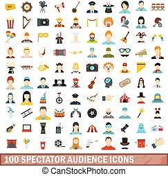 100 spectator audience icons set, flat style
