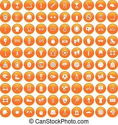 100 sport accessories icons set orange