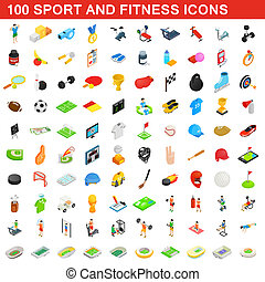 100 sport and fitness icons set, isometric style
