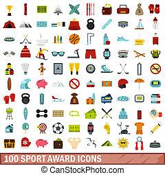 100 sport award icons set, flat style