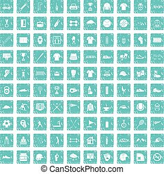 100 sport club icons set grunge blue