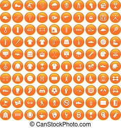 100 sport club icons set orange