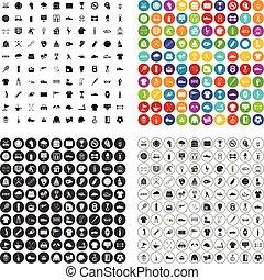 100 sport club icons set vector variant