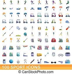 100, sport, ensemble, dessin animé, icônes, style