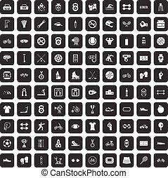 100 sport icons set black