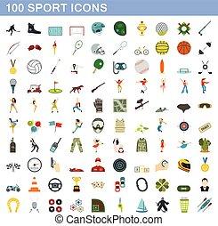 100 sport icons set, flat style