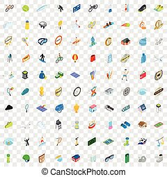 100 sport icons set, isometric 3d style
