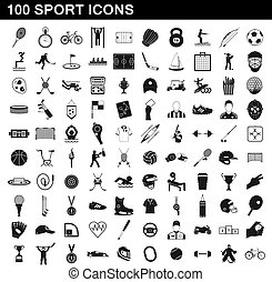 100 sport icons set, simple style