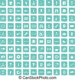 100 sport journalist icons set grunge blue