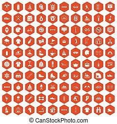 100 sport life icons hexagon orange