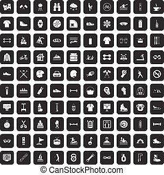 100 sport life icons set black
