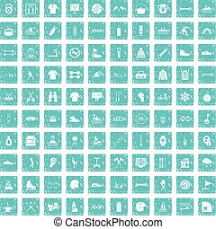 100 sport life icons set grunge blue