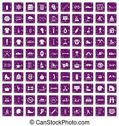 100 sport life icons set grunge purple