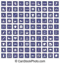 100 sport life icons set grunge sapphire