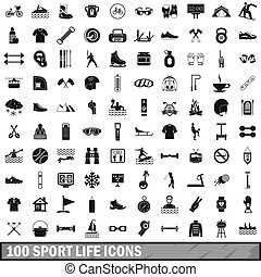 100 sport life icons set, simple style