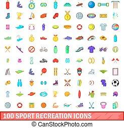 100 sport recreation icons set, cartoon style