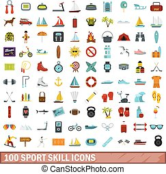 100 sport skill icons set, flat style