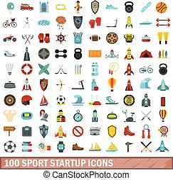 100 sport startup icons set, flat style
