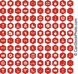 100 sport team icons hexagon red - 100 sport team icons set...