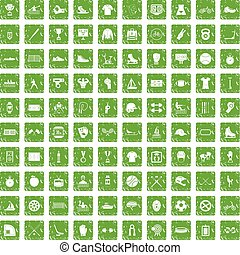 100 sport team icons set grunge green - 100 sport team icons...