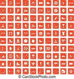100 sport team icons set grunge orange - 100 sport team...