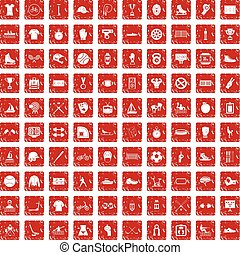 100 sport team icons set grunge red - 100 sport team icons...