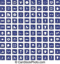 100 sport team icons set grunge sapphire - 100 sport team...