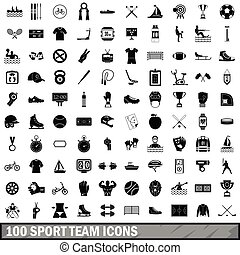 100 sport team icons set, simple style - 100 sport team...