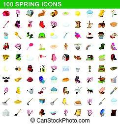100 spring icons set, cartoon style