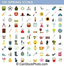 100 spring icons set, flat style