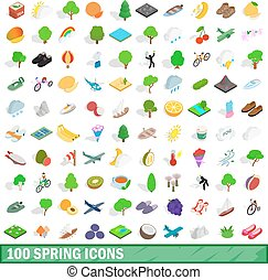 100 spring icons set, isometric 3d style