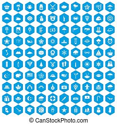 100 star icons set blue