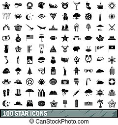 100 star icons set, simple style