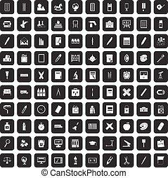 100 stationery icons set black