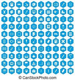 100 stationery icons set blue