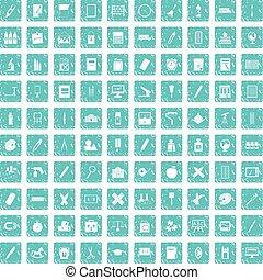 100 stationery icons set grunge blue