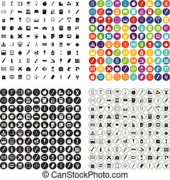 100 stationery icons set vector variant