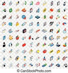 100 statistics icons set, isometric 3d style