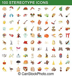 100 stereotype icons set, cartoon style