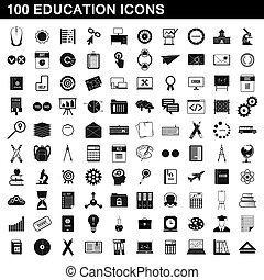 100, stile, educazione, set, icone semplici