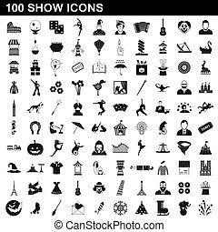 100, stile, mostra, set, icone semplici