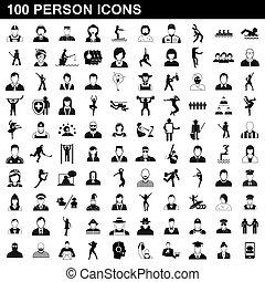 100, stile, persona, set, icone semplici