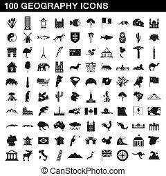 100, stile, set, geografia, icone semplici