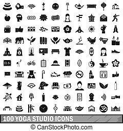 100, stile, set, studio, yoga, icone semplici
